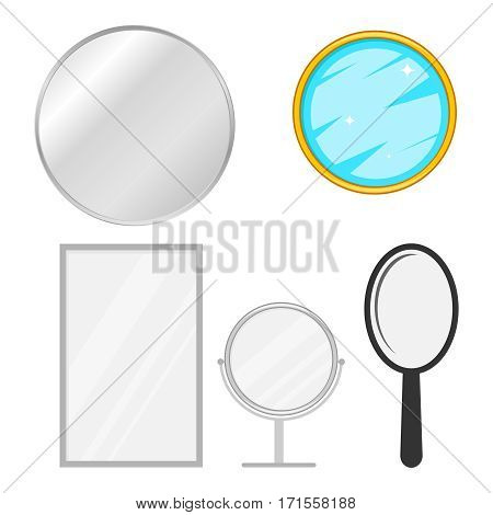 mirror icon, reflection, look at yourself. Flat design, vector illustration