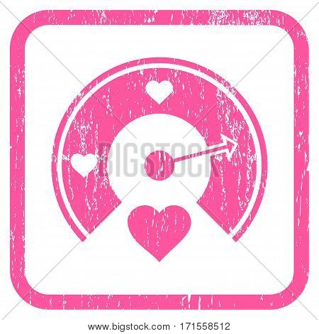 Love Gauge rubber watermark. Vector icon symbol inside rounded rectangular frame with grunge design and dirty texture. Stamp seal illustration. Unclean pink ink sign on a white background.