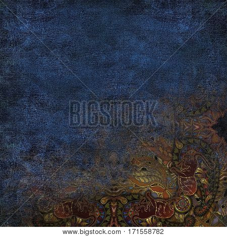dark blue colored background granular, ethnic pattern