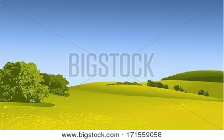 Nature background with rural landscape - vector illustration
