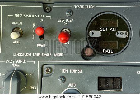 Detail of cabin pressurization control panel in the cockpit