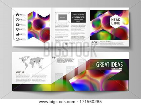 Set of business templates for tri fold brochures. Square design. Leaflet cover, abstract flat layout, easy editable vector. Colorful design background with abstract shapes, bright cell backdrop.