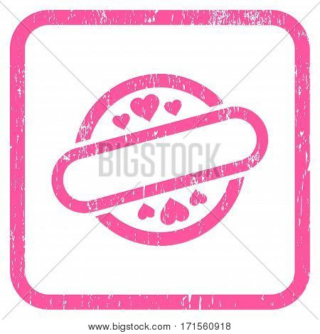 Love Stamp Seal rubber watermark. Vector icon symbol inside rounded rectangle with grunge design and scratched texture. Stamp seal illustration. Unclean pink ink emblem on a white background.