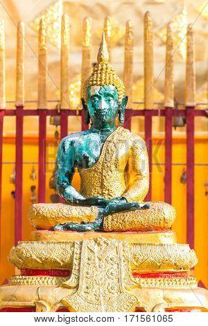 Green glass Buddha statue, wat Phra That Doi suthep Chiangmai Thailand