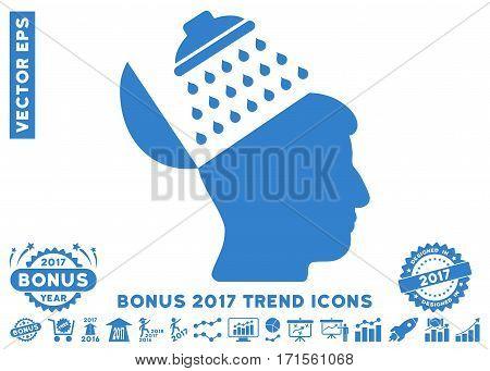 Cobalt Propaganda Brain Shower pictogram with bonus 2017 year trend images. Vector illustration style is flat iconic symbols white background.