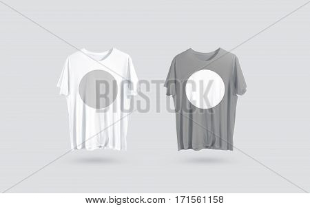 Blank grey and white t-shirt front side view, design mockup. Clear plain cotton tshirt mock up template isolated. Apparel store logo branding dress. Crew shirt with round sticker applique for logotype