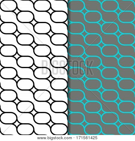 Geometric seamless pattern with oval. Repeating abstract vector background with monochrome and color style.