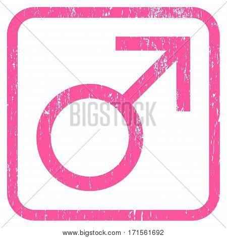 Mars Male Symbol rubber watermark. Vector pictogram symbol inside rounded rectangular frame with grunge design and dust texture. Stamp seal illustration. Unclean pink ink emblem on a white background.