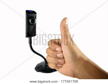 businessman's hand with thumbs up sign to next person in the web
