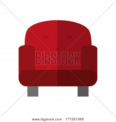 red armchair icon over white background. colorful design. vector illustration