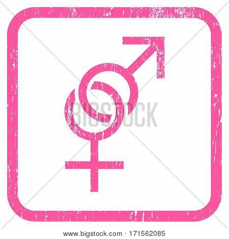 Sex Symbol rubber watermark. Vector icon symbol inside rounded rectangle with grunge design and dust texture. Stamp seal illustration. Unclean pink ink sticker on a white background.