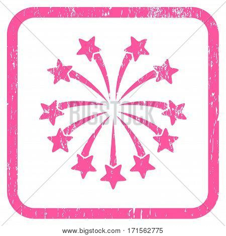 Spherical Fireworks rubber watermark. Vector icon symbol inside rounded rectangular frame with grunge design and dirty texture. Stamp seal illustration. Unclean pink ink emblem on a white background.