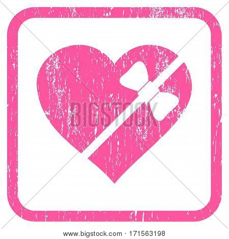 Tied Love Heart rubber watermark. Vector icon symbol inside rounded rectangle with grunge design and unclean texture. Stamp seal illustration. Unclean pink ink emblem on a white background.