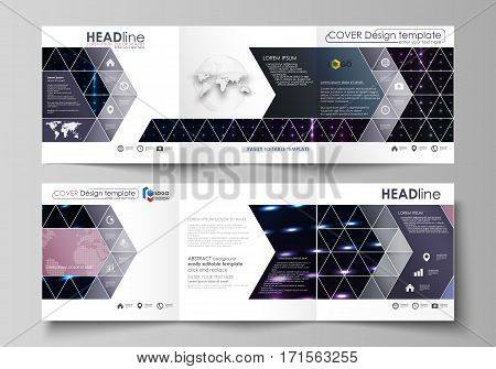 Set of business templates for tri fold square design brochures. Leaflet cover, abstract flat layout, easy editable vector. Abstract colorful neon dots, dotted technology background. Glowing particles, led light pattern, futuristic texture, digital vector