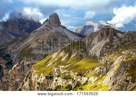 overcast day Dolomites mountains view at the cloudy day Italy