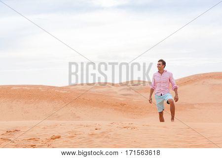 Handsome Man In Desert Young Guy Sand Dune Landscape Background