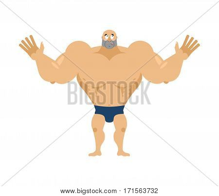 Athlete Surprised. Astonished Bodybuilder. Agaze Sportsman. Fitness Guy