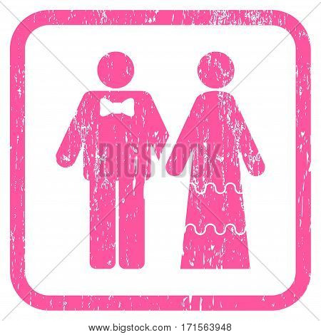 Wedding Persons rubber watermark. Vector icon symbol inside rounded rectangular frame with grunge design and dust texture. Stamp seal illustration. Unclean pink ink sign on a white background.