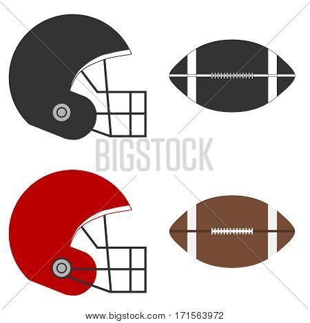Helmet American Football, American football ball, football. Flat design, vector illustration, vector.