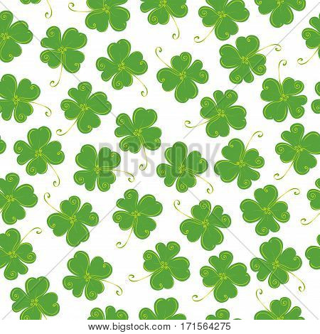 vector seamless pattern of clover with four leaves on a white background / lucky St Patricks Day