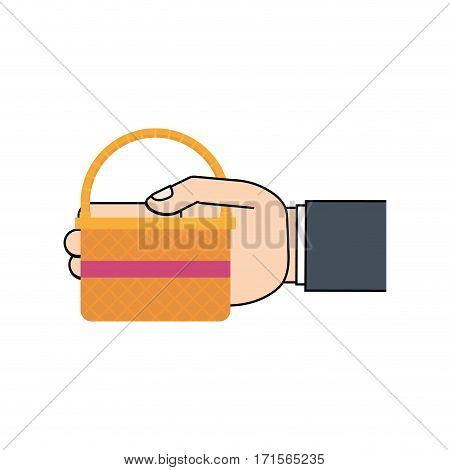 hand hing easter basket vector illustration eps 10