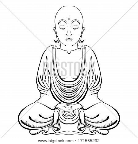 Vector Illustratioon of hand drawn Buddha on a white background. EPS