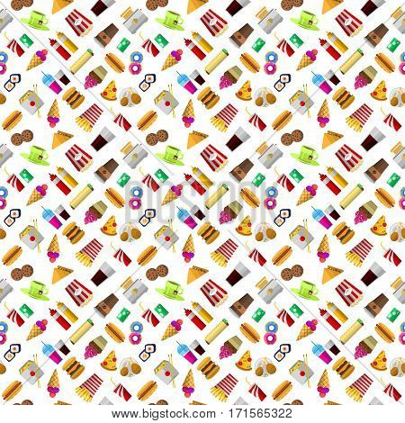 Hand drawn seamless pattern of fast food. Vector hamburger breakfast unhealthy food. Restaurant doodle cheeseburger lunch snack or drink tasty meal background.