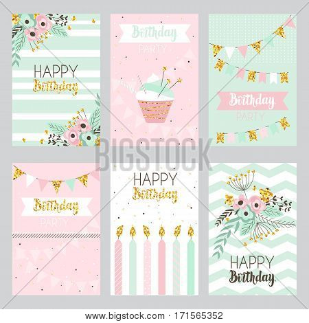 Happy birthday and invitation card with golden sparkle dots flowers cake candle . Illustration in vintage style pastel colors vector.