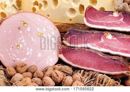 Italian Ham, Mortadella, Swiss Cheese And Walnuts