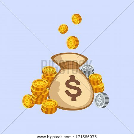 Stacks of gold money coins bag income profits cash wealth concept banking sign and payment exchange growth economy design earnings metal vector illustration. Investment market savings euro pay.