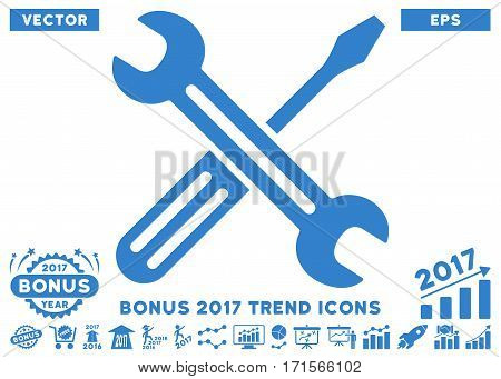 Cobalt Spanner And Screwdriver pictograph with bonus 2017 year trend symbols. Vector illustration style is flat iconic symbols white background.