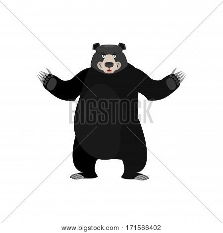 Baribal Happy Emoji. American Black Bear Merryl Emotion Isolated