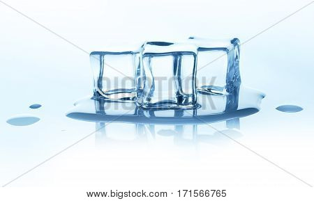 Group of three melting ice cubes with reflection isolated on white background. Closeup of cold crystal block cutout