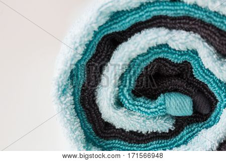 hygiene, fabric and textile concept - close up of bath towels