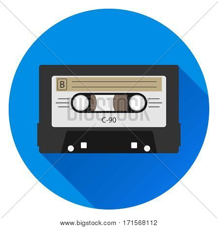 Audio cassette, retro audio cassette icon, listen to music. Flat design, vector illustration, vector.