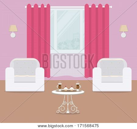 Living room in a pink color, it has white armchairs and crimson curtain. There are also cups of coffee and cakes on the table in the picture. Vector flat illustration.