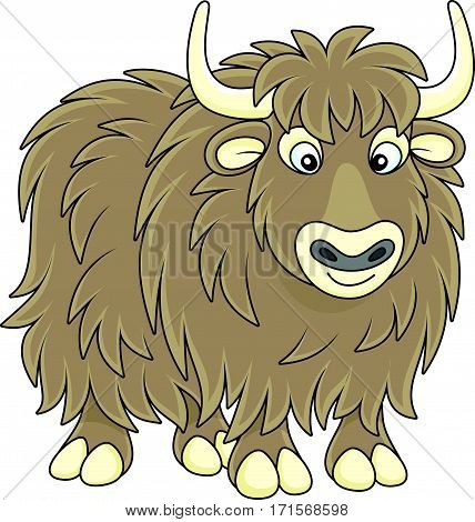 Vector illustration of a big brown yak in cartoon style