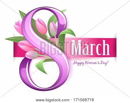 8 march women's day background greeting card. International lady's holiday design template. Glossy number and ribbon with tulips flowers.