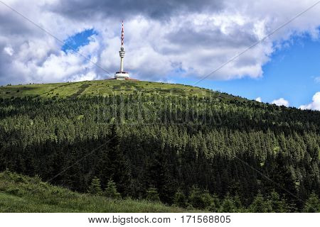 The highest moravian mountain Praded with the broadcasting tower