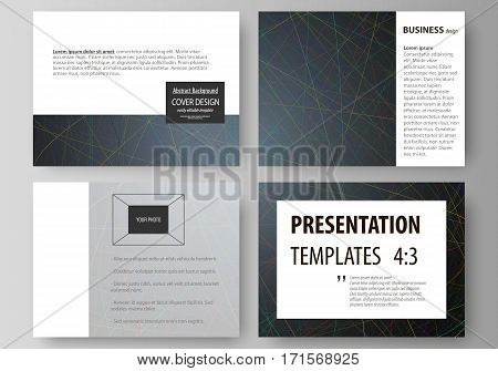 Set of business templates for presentation slides. Easy editable abstract vector layouts in flat design. Colorful dark background with abstract lines. Bright color chaotic, random, messy curves. Colourful vector decoration.
