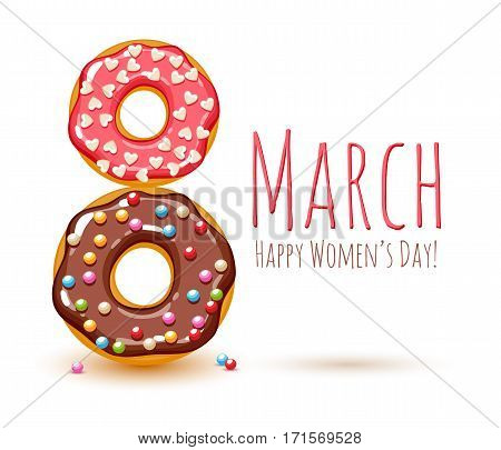 8 march women's day background greeting card. International lady's holiday design template. Colorful donuts and sprinkles.