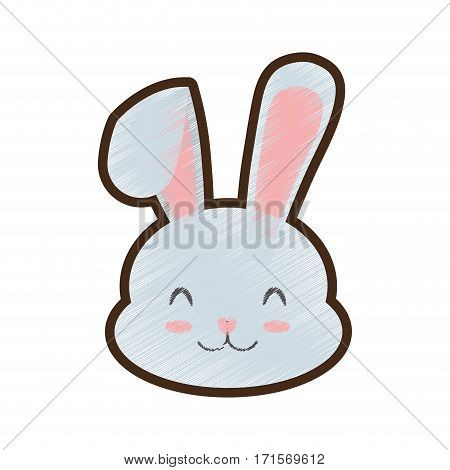 drawing easter bunny clossed eyes vector illustration eps 10