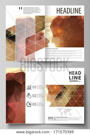 Business templates for bi fold brochure, magazine, flyer, booklet or annual report. Cover design template, easy editable vector, abstract flat layout in A4 size. Romantic couple kissing. Beautiful background. Geometrical pattern in triangular style.