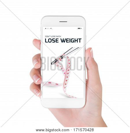 Woman using her smart phone searching lose weight information Measuring tape wrapped on chopsticks in lose weight and diet concept Isolated on white background.