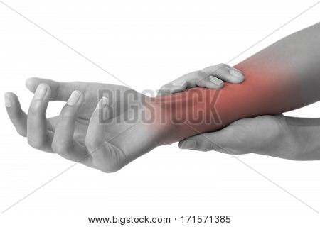 woman holding her beautiful healthy wrist and massaging in pain area black and white color with red highlighted Isolated on white background.