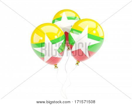 Three Balloons With Flag Of Myanmar