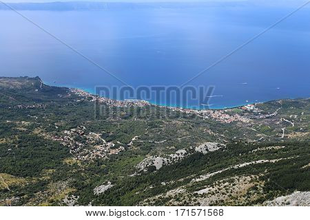 Sea coast between Tucepi and Makarska seen from the mountain tops