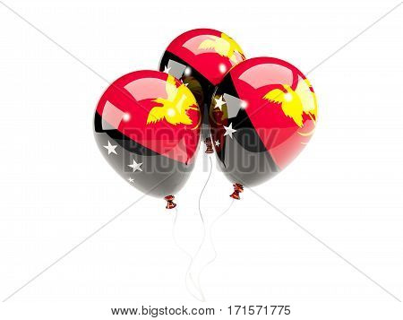 Three Balloons With Flag Of Papua New Guinea