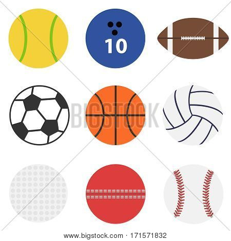 Soccer ball, basketball, volleyball, golf ball, tennis ball, sport, sports. Flat design, vector illustration, vector.