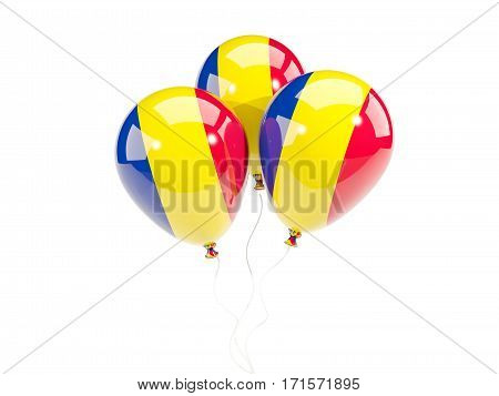 Three Balloons With Flag Of Romania